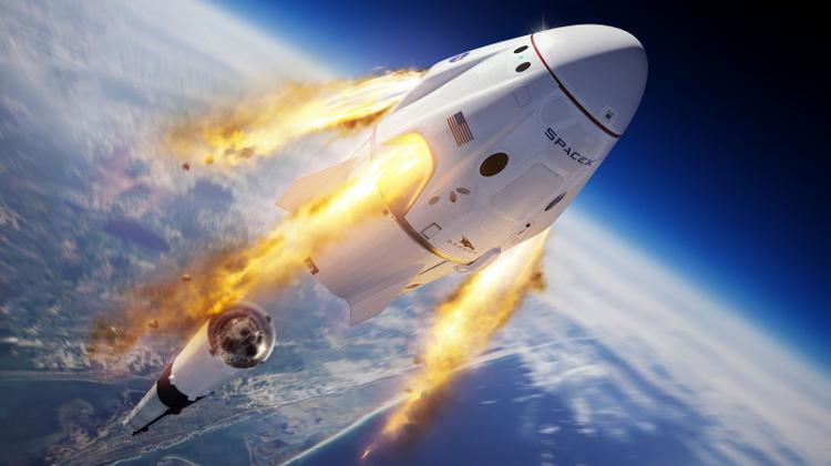 Imagem ilustrativa da cápsula Dragão da Tripulação - SpaceX / Discovery