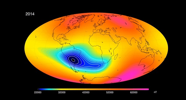 Campo magnético na América do Sul