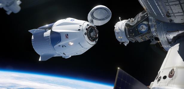 Onde o foguete fica estacionado na Estação Espacial até retornar à Terra? - 08.08.2020