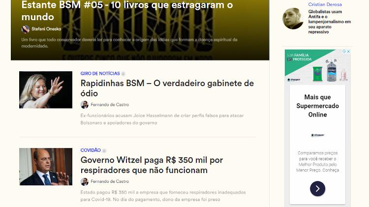 Exemplo de publicidade do programa impressa na página principal do site Brasil Sem Fear - Reprodução