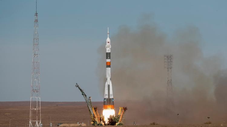 Nave espacial russa Soyuz lançada da base de Baikonur, no Cazaquistão, de acordo com a ISS (Estação Espacial Internacional) - Shamil Zhumatov / Reuters