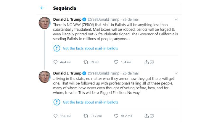 Twitter marca os tweets de Donald Trump com um aviso sobre o conteúdo errado - Reprodução