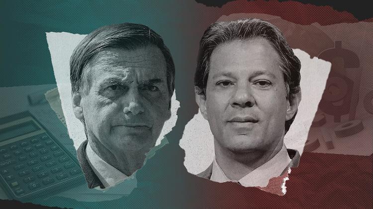 Jair Bolsonaro (sem jogo) e Fernando Haddad (PT), adversários na segunda rodada de 2018 - Arte / UOL