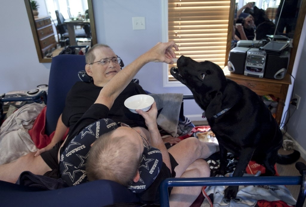 3 de julho de 2014 - Donnie e Ronnie Galyon, 62 anos, alimentam seus cães em sua casa em Beavercreek, Ohio, EUA. O reconhecimento do registro de irmãos siameses mais velhos pode acontecer em outubro, quando completam 63 anos e atingem a idade de falecidos gêmeos siameses italianos - Daily News, Drew Simon / AP