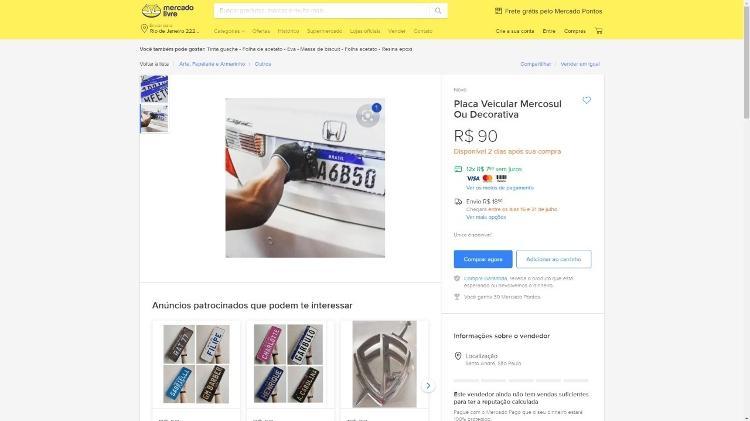 Falsificação do mercado livre Chapa do Mercosul - duplicação - duplicação